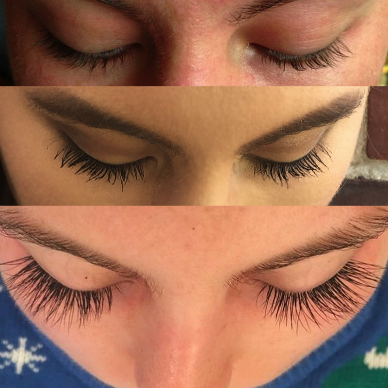 Below is a comparison of my lashes with and without mascara before the  extensions vs. the extensions without mascara. 4ab79521e4cf